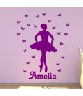 Ballerina and butterfly personalised girls bedroom wall sticker kit, ballerina decal.