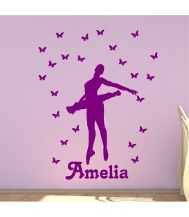 Ballerina and butterfly personalised girls bedroom wall sticker kit, ballerina 7 decal.