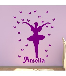 Dancing Ballerina and butterflies personalised girl wall sticker 8.
