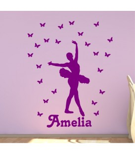 Ballerina and butterflies personalised girl wall art sticker.