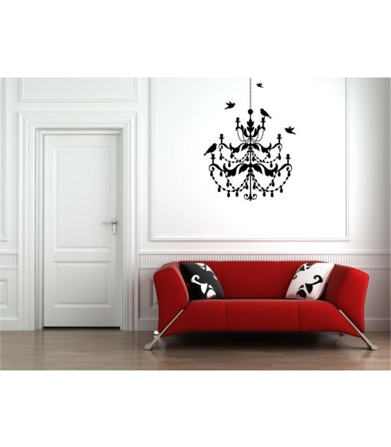 Birds on the chandelier wall art stickers, wall art decal for bedroom.