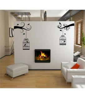 Twin birds cages wall art stickers, wall art decal for bedroom.