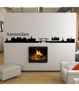 Amstedam city skyline wall decal, living room wall sticker, wall graphics.