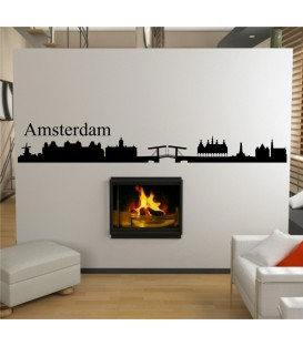 Amsterdam city skyline wall decal, living room wall sticker, wall graphics.