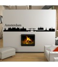 Amsterdam city skyline wall decal, living room wall sticker.
