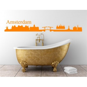 Amstedam city skyline wall decal, living room wall sticker, wall graphics.