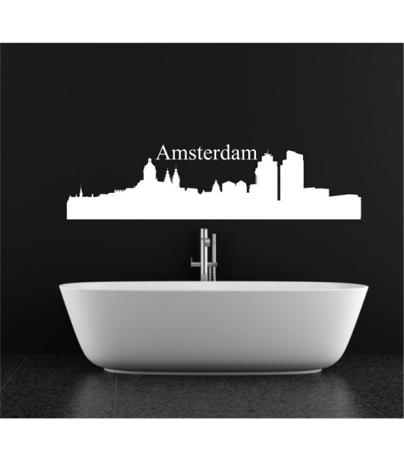 Amstedam city skyline wall decal, living room wall sticker.