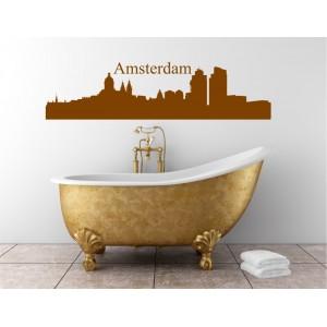 Amstedam city skyline wall decal, living room wall sticker.