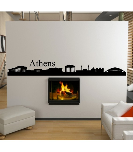 Athens city skyline wall decal, living room wall sticker.