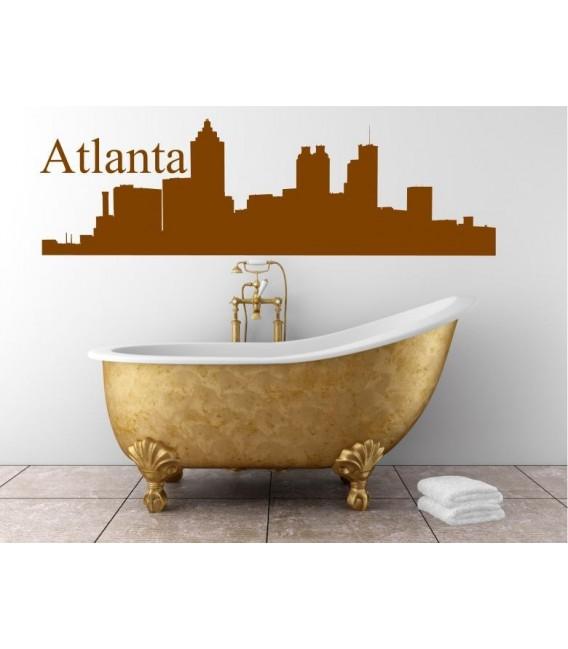 Atlanta city skyline wall decal, living room wall sticker.