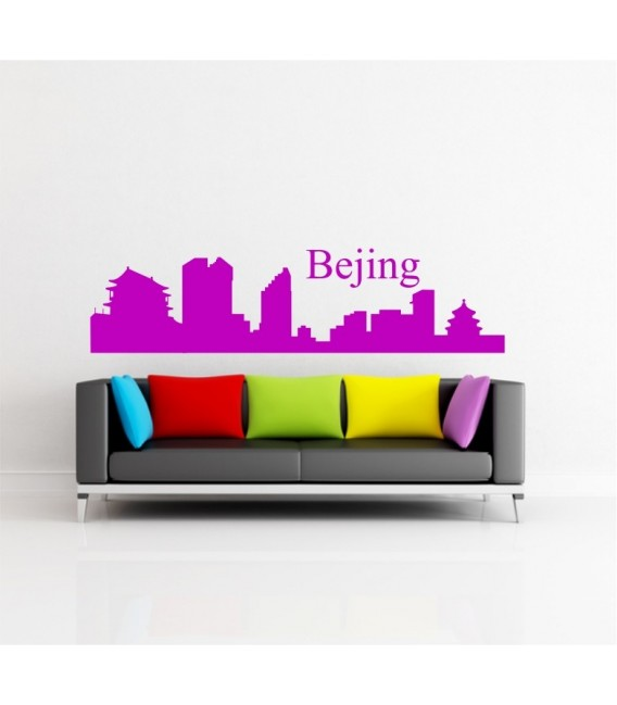 Bejing city skyline wall decal, living room wall sticker.