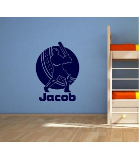 Cricket player personalised boy bedroom wall sticker.