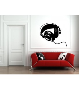 Headphones wall art sticker, headphones wall decal.