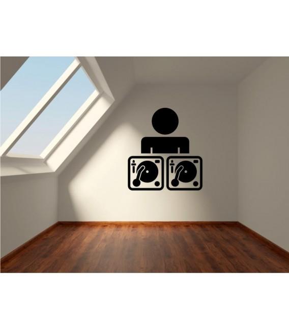 DJ Stickman wall art sticker decal, headphones wall art decal.