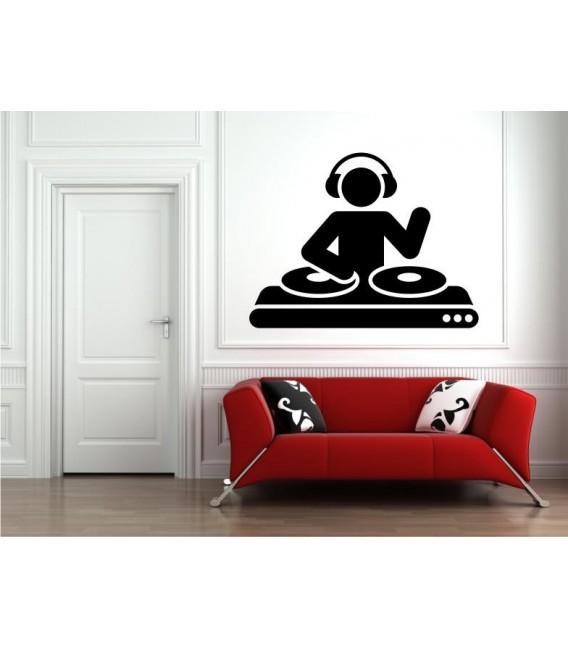 DJ Stickman 2 wall art sticker decal, headphones wall art decal.