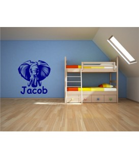 Elephant personalised bedroom wall sticker.