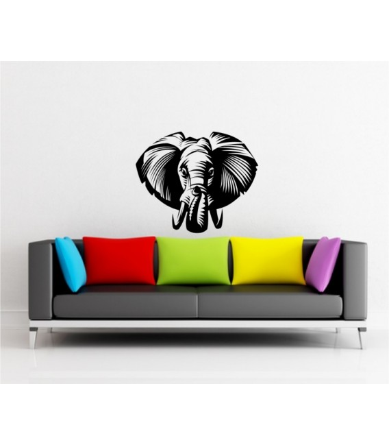 Elephant personalised bedroom wall sticker, elephant wall decal.
