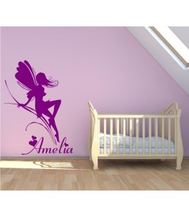 Fairy with the name girl bedroom wall sticker.