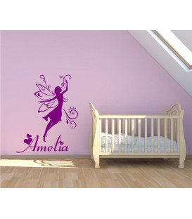 Fairy personalised girl bedroom wall sticker, fairy wall decal.