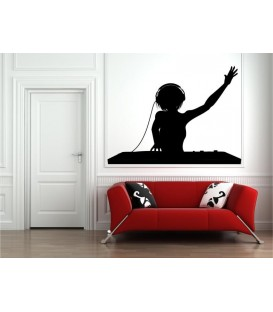 Female DJ wall art sticker decal, Female DJ wall art decal.