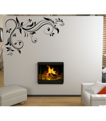 Flower art corner wall decal, living room decorative wall sticker, wall graphics.