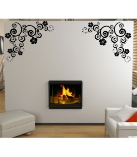 Flower art wall decal, living room decorative wall sticker, wall graphics.