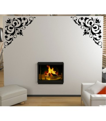 Flower art wall decal, living room decorative wall sticker, wall graphics.