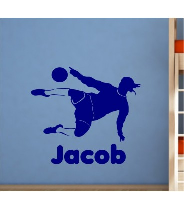 Footballer personalised boy bedroom wall sticker, footballer wall decal.