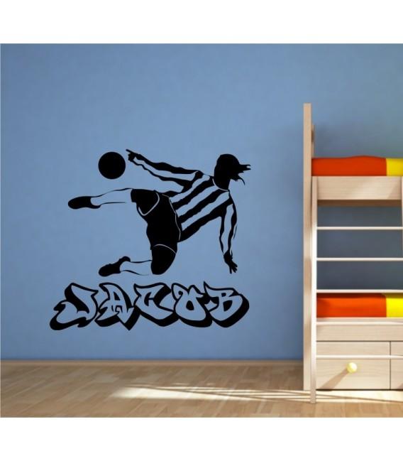 Footballer personalised boy bedroom wall sticker, footballer wall decal.