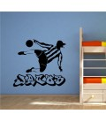 Football player personalised boy bedroom wall sticker.