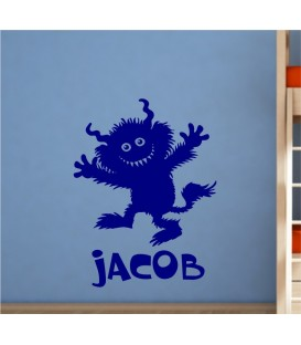 Furry monster personalised boy bedroom wall sticker, monster wall decal.