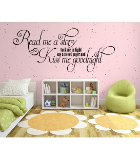 Mum kiss me goodnight girls bedroom wall sticker, wall decal.