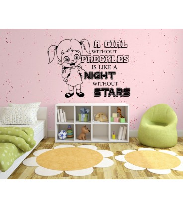 A Girl With Freckles Bedroom Wall Sticker, Wall Decal. Part 80