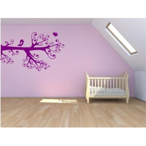 Lovebirds on the branch bedroom wall sticker, wall art decal.