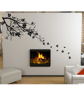 Tree branch and leaves wall decal, tree branch wall sticker.