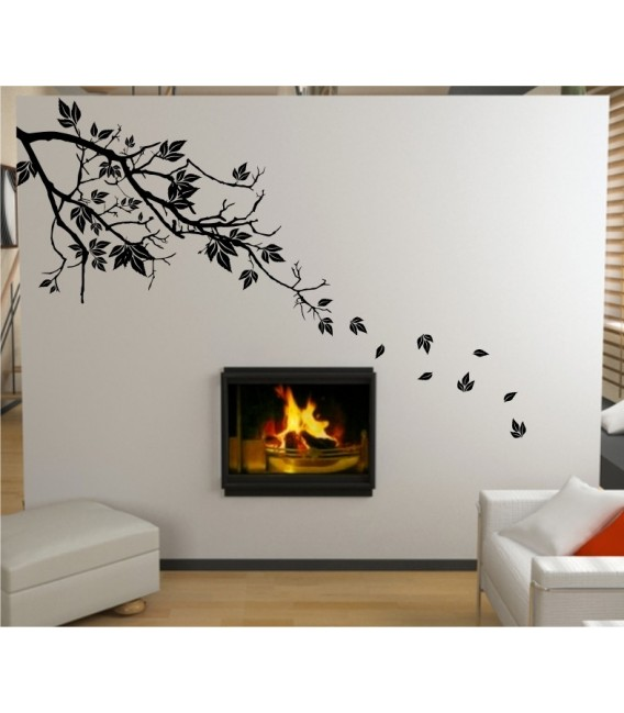 Treebranch and leaves wall decal,  Treebranch wall sticker.