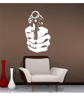 Handgun wall art sticker decal, handgun wall art decal.