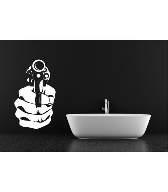 Handgun wall art sticker decal, handgun wall art decal.
