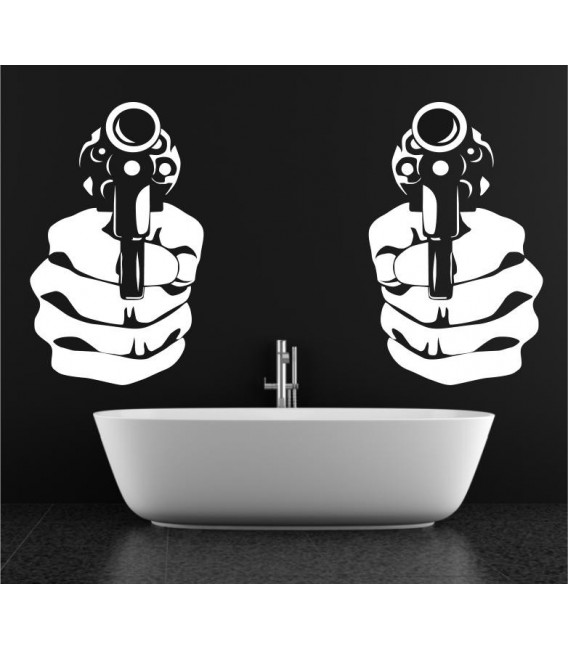 Handgun double wall art sticker decal, handgun wall art decal.