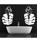 Handgun double wall art sticker, handgun wall decal.