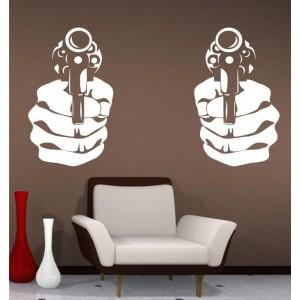Handgun double wall art sticker decal, handgun wall art decal.