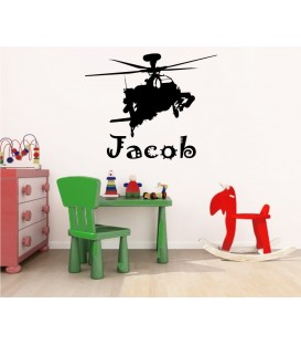 Helicopter personalised bedroom wall sticker, helicopter wall art decal.