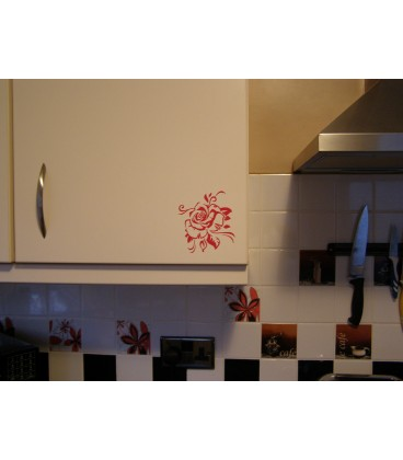 Beautifull roses wall decal, self-adhesive dinning room wall art sticker.