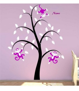 Monkeys tree personalised bedroom wall sticker.