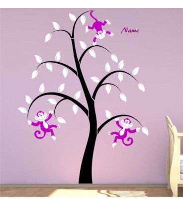 Monkeys tree personalised bedroom wall sticker, monkeys wall decal.