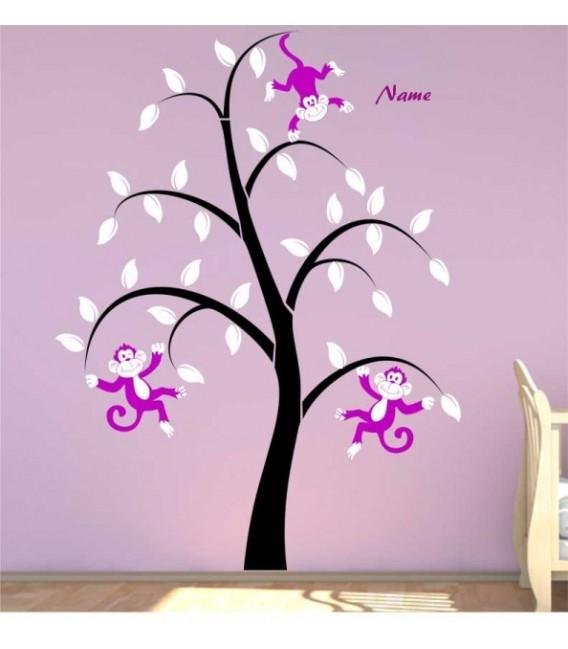 Monkeys tree personalised bedroom wall sticker, monkeys wall decal.