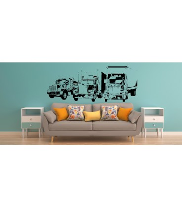 Trucks wall sticker, Trucks wall graphics for bedroom wall decoration.
