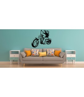 Skeleton on the motorbike boys bedroom wall sticker.