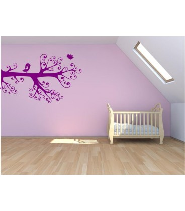 Love birds on the branch romantic wall art sticker, bedroom wall decals.
