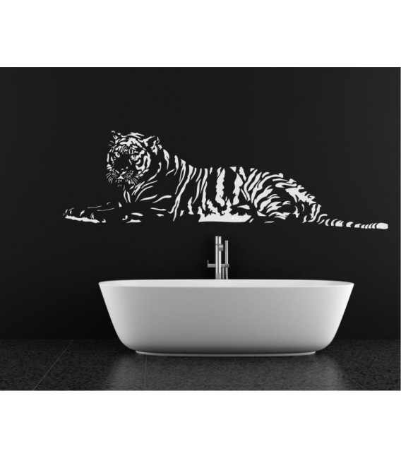 Laying Tiger decorative wall art sticker, tiger wall decal.